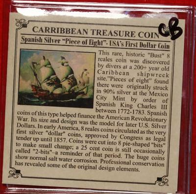 Carribbean Treasure Coin Spanish 8 Reales Silver Foreign Coin Free S/H