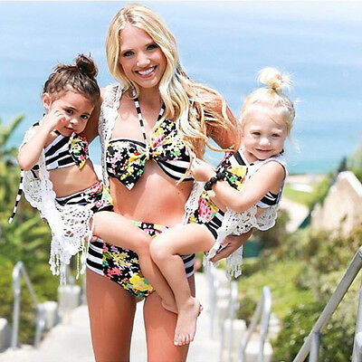 Women's Swimwear Costume Mother Daughter Child Swimsuit Push Up Bikini 2Pcs