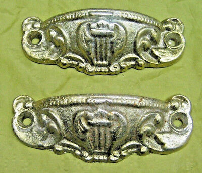 2 Cast Iron Gold Painted Drawer Door Pulls Ornate w/ Harps VICTORIAN STYLE