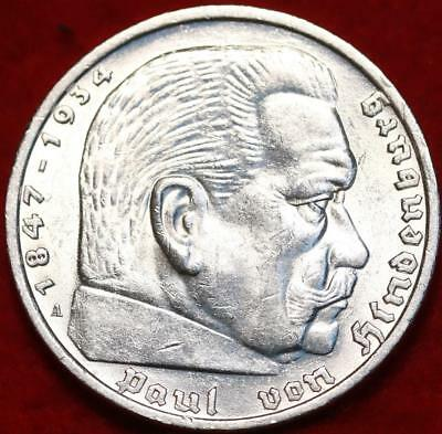 Uncirculated 1935 Germany 5 Marks Silver Coin Free S/H