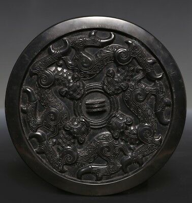 Admirable Exquisite Large Rare Old Vintage Quality Chinese Bronze Mirror  US210