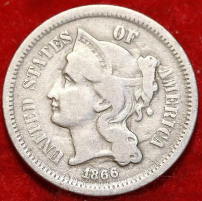 1866 Philadelphia Mint Silver Three Cent Coin Free Shipping