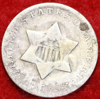 1852 Philadelphia Mint Silver Three Cent Coin Free Shipping