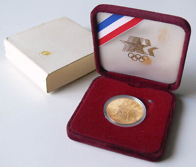 1984-W $10 Olympic commemorative GOLD COIN sealed clear case+VELVET CLAMSHELL