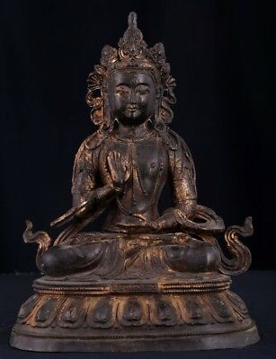 Large Marvelous Rare Antique Chinese Bronze Buddha Seated Statue Sculpture AB047