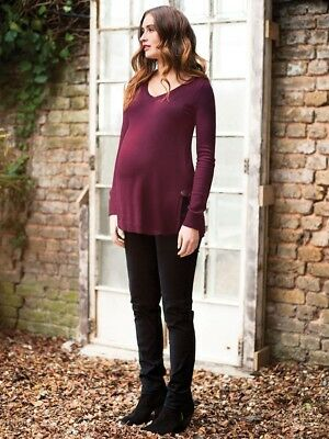 New JoJo Maman Bebe Maternity Wine V-Neck, Light Knit Cashmere Sweater Sz S 4/6
