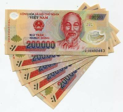 1,000,000 Vietnamese Dong (VND) - (5) 200,000 Notes - Fast Delivery
