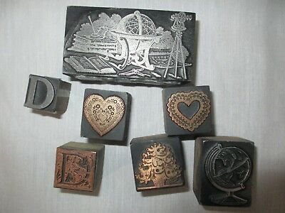 LOT 7 Vintage Printing Metal Ink Stamps With Wood Base Gift Stocking Stuffer!