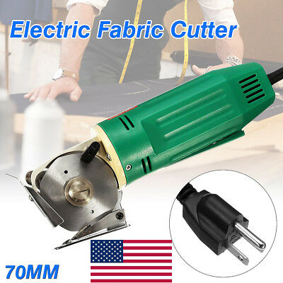 70MM Electric Fabric Cutter Rotary Blade Scissors Cloth Cutting Machine Tool USA