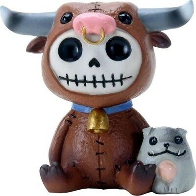 FurryBones Torro Figurine Ornament Cow Bull Horns Gothic Skull Cool Cute Gift