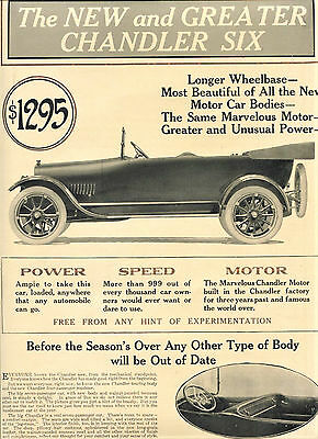 1916 Original CHANDLER SIX 2-COLOR 2-Sided Advert BROCHURE. ROADSTER + Touring