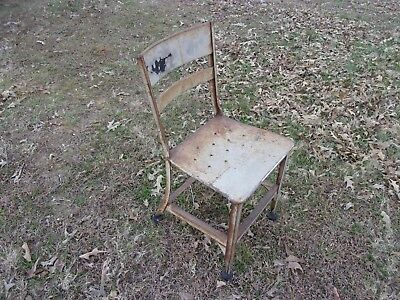 Vtg Toledo Industrial Metal Machine Age Art Chair Seat Factory Loft UHL Drafting