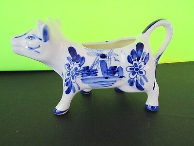 Vintage Blue & White Cow Creamer Windmill Flowers ~ Handpainted