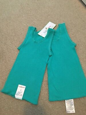 NEW 2x Baby Singlets green Size 1 12-18 Months