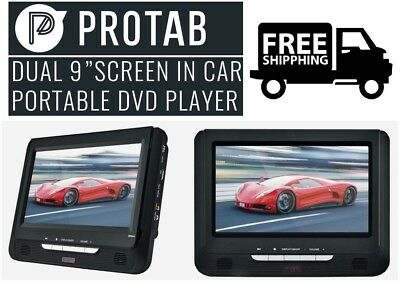 "Protab 9"" Dual screen portable DVD Player for the Car w/ USB/SD/MMC AC/DC *RFB*"