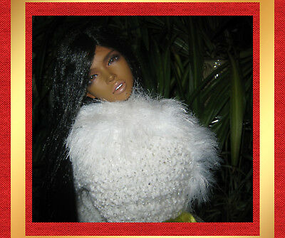 "For Dollmore Model 26"" BJD Luxury 3-way hand-knit white vest w/ satin thread"