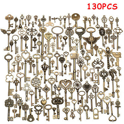 130X Antique Vintage Key Old Look Bronze Skeleton Fancy Heart Bow Pendant Decor