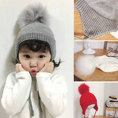 Lovely Baby Girl Toddler Kid Crochet Earflap Beanie Winter Newborn Soft Cap Hat