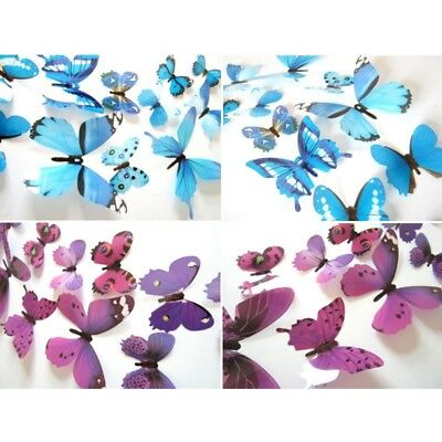 12pcs 3D PVC DIY Butterflies Butterfly Art Decal Wall Mural Stickers Home Decor