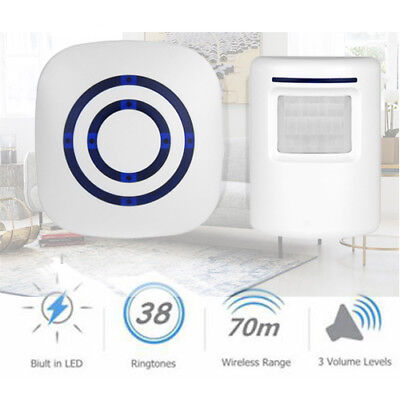 Wireless Entry Door Bell Welcome Motion Sensor Detector Gate Chime Alert Alarm
