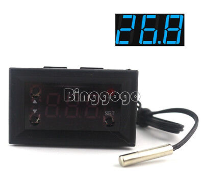 Blue W1218 Thermostat 12V+NTC Probe Controller 3-Digit Display Replace W1209WK