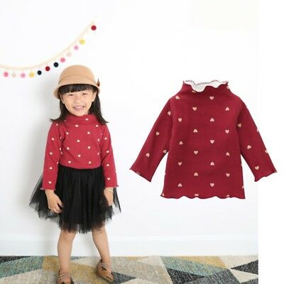 UK Baby Girls Kids Pullover T-shirt Clothes Infant Winter Warm Knitted Blouse