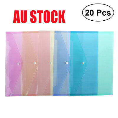20x A4 Plastic Snap Bags File Storage Document Folder Protective Wallet Sleeve