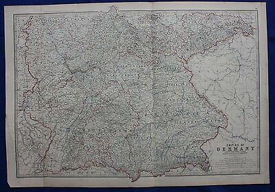 Original antique Victorian map 'EMPIRE OF GERMANY', W & A.K. Johnston, 1868