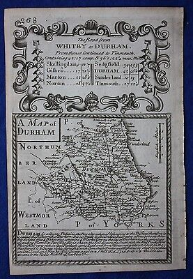 Original antique map DURHAM, Owen & Bowen, 'Britannia Depicta', 1724