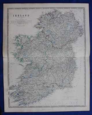 Original antique Victorian map IRELAND, ULSTER, MUNSTER, W & A.K. Johnston, 1868