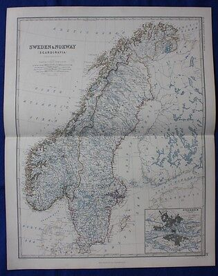 Original antique Victorian map SCANDINAVIA, SWEDEN, NORWAY W & A K Johnston,1868