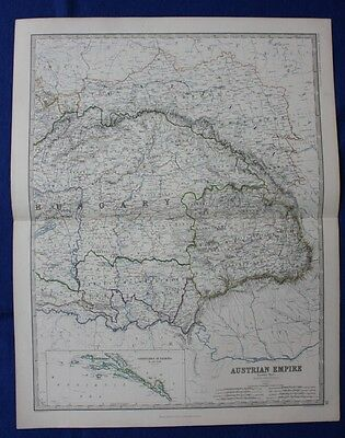 Original antique Victorian map AUSTRIAN EMPIRE, HUNGARY, W & A.K. Johnston, 1868