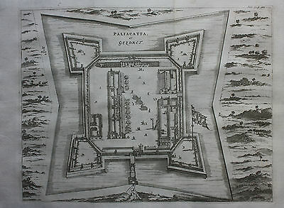 Original antique map / plan INDIA, PALIACATTA, GESDRET, PULICAT, Churchill, 1744