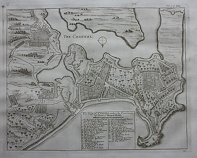 Original antique map, plan SRI LANKA, SIEGE OF COLOMBO, Baldaeus, Churchill 1744