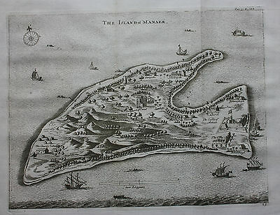 Original antique map ISLAND OF MANAER, SRI LANKA, INDIAN OCEAN, Churchill, 1744