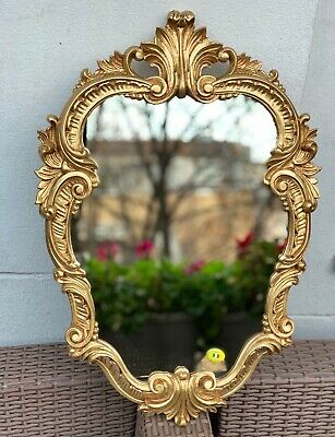 Wall Mirror Antique Gold Oval Vintage Bathroom Baroque Shabby 49X33 Rococo C443
