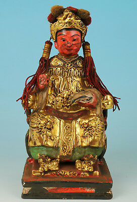 Chinese Old Wood Handmade Painting Queen Mother Figure Statue Decoration
