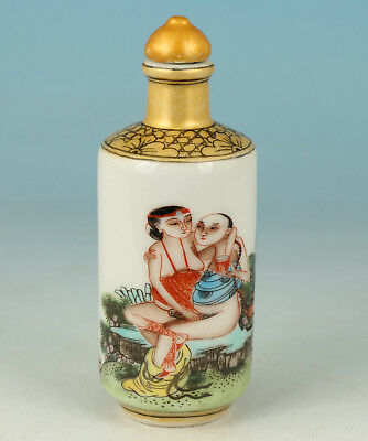 Chinese Old Porcelain Handmade Painting Hug Penis Life Statue Snuff Bottle