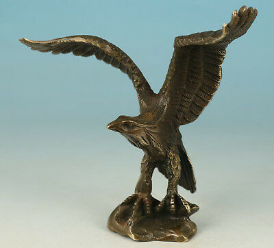 Chinese Old Bronze Handmade Casting Eagle Statue Decoration