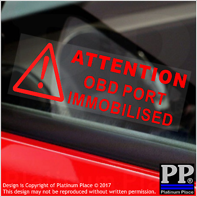 5 x OBD Port Immobilised-RED-Internal Stickers-Attention,Warning,Car,Disabled