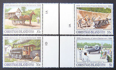 1988 Christmas Island Stamps - Centenary of Island's Settlement - Set 4-Tabs MNH