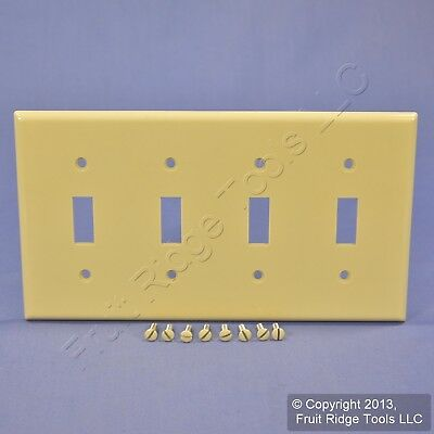 LEVITON Ivory Standard 4-Gang Toggle Light Switch Cover Plastic ...