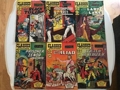 Classics Illustrated Lot #73-79  Black Tulip Lady & Lake Iliad Midshipman 1950