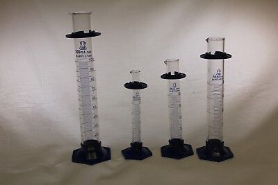 Boro Glass Graduated Cylinder Set Pk of 4 (10-25-50-100 ml) - Ships from USA