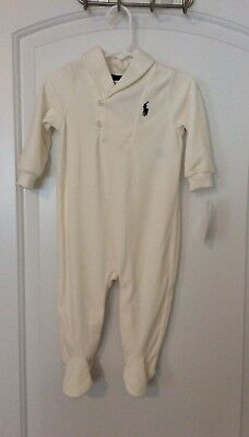 RALPH LAUREN 9 MONTH BABY BOY or GIRL Cream Velour Footed One Piece Coverall NWT