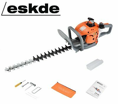 """eSkde HT60-S7 Petrol Hedge Trimmer 60cm 24"""" Double Sided Reciprocating Blades"""