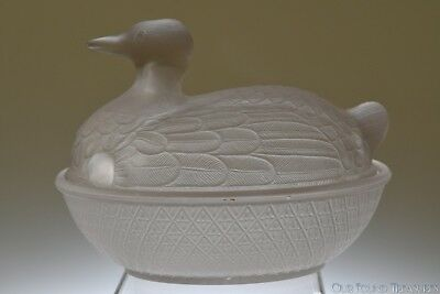 "RARE c. 4Q 1800s  ""GEOMETRIC"" Pattern by Unknown FROSTED GLASS Duck on Hen Dish"