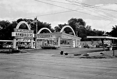 """5x7"""" photo 1960's  McDonalds DRIVE-IN BURGERS LOTS OF OLD CHEVROLETS"""