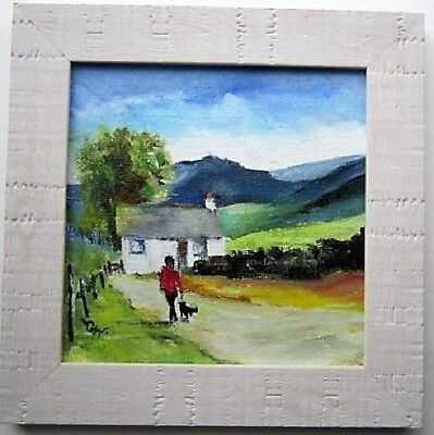 """Original Oil Painting~Landscape Scene~""""A Stroll With The Dog""""~Framed"""