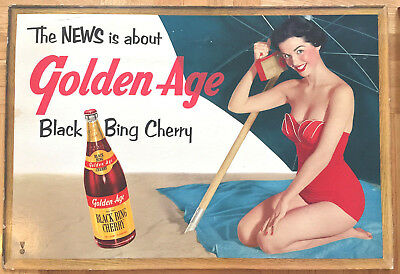 Golden Age Beverages Black Bing Cherry Soda Emerson Radio Pin Up Sign